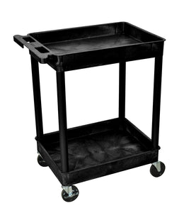 Offex Mobile Multipurpose Commercial Heavy Duty Plastic Tub Storage 4 Casters Service Utility Cart 2 Shelf Black