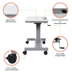 Offex STUDENT-C Student Sit/Stand Desk with Height Adjustable Crank Handle - Light Gray/Medium Gray