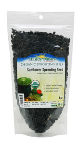 8 Oz Organic Non-GMO Black Oil Sunflower Microgreens Seeds and Sprouting Seeds (Shell On) - Edible Sun Flower Micro Green Seeds, Organic Sprout Seeds, Seeds for Sprouting, and Sprout Mix