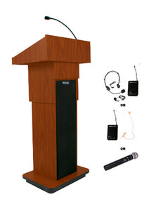 Amplivox Wireless Adjustable Height Sound Column Lectern - Mahogany