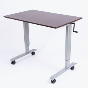 "48"" High Speed Crank Adjustable Desk - Siver/Dark Walnut"