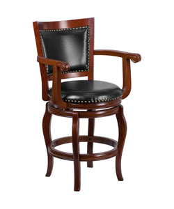 Flash Furniture Flash Furniture 26'' High Cherry Wood Counter Height Stool with Arms, Panel Back and Black LeatherSoft Swivel Seat