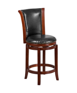 Flash Furniture Flash Furniture 26'' High Dark Chestnut Wood Counter Height Stool with Panel Back and Black LeatherSoft Swivel Seat