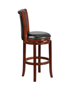 Flash Furniture 30'' High Dark Chestnut Wood Barstool with Panel Back and Black LeatherSoft Swivel Seat
