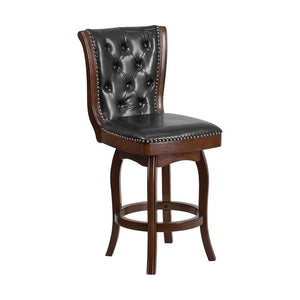 Flash Furniture Flash Furniture 26'' High Cappuccino Wood Counter Height Stool with Button Tufted Back and Black LeatherSoft Swivel Seat