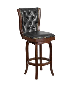 Flash Furniture 30'' High Cappuccino Wood Barstool with Button Tufted Back and Black LeatherSoft Swivel Seat and Footrest
