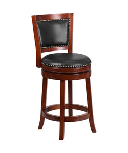 Flash Furniture 26'' High Dark Cherry Wood Counter Height Stool with Open Panel Back and Walnut Leather Swivel Seat