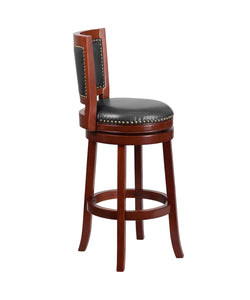 Flash Furniture Open Panel Back Design 30'' High Dark Cherry Wood Barstool with Walnut LeatherSoft Swivel Seat