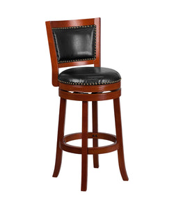 Flash Furniture Open Panel Back Design 30'' High Light Cherry Wood Barstool with Black LeatherSoft Swivel Seat