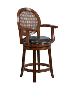 Flash Furniture Flash Furniture 26'' High Expresso Wood Counter Height Stool with Arms, Woven Rattan Back and Black LeatherSoft Swivel Seat