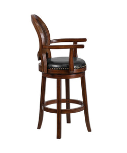 Flash Furniture Flash Furniture 30'' High Expresso Wood Barstool with Arms, Woven Rattan Back and Black LeatherSoft Swivel Seat