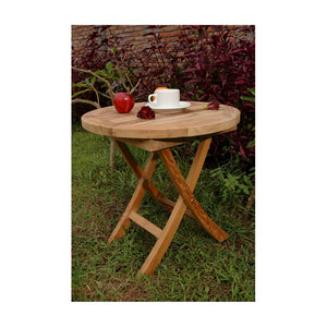 "Anderson Teak Patio Lawn Furniture Bahama 20"" Mini Side Round Folding Table"