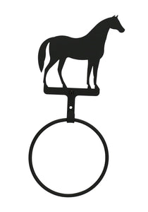 Village Wrought Iron Bathroom Accessories Standing Horse Towel Ring