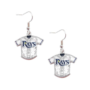 Tampa Bay Rays Glitter Jersey Sparkle Dangle logo Earring Set