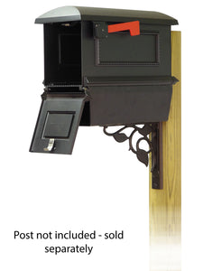 Special Lite Products Company Traditional Curbside Mailbox with Newspaper Tube and Floral Front Single Mailbox mounting Bracket