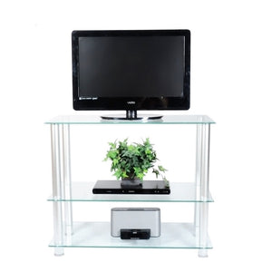 "RTA Home and Office Extra Tall Glass and Aluminum LCD and Plasma TV Stand for a 35"" TV"