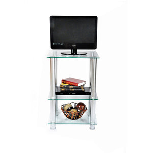 "29.5-Inch Extra Tall Glass and Aluminum LCD and Plasma TV Stand (Clear) (29.5""H x 19.7""W x 15.7""D)"