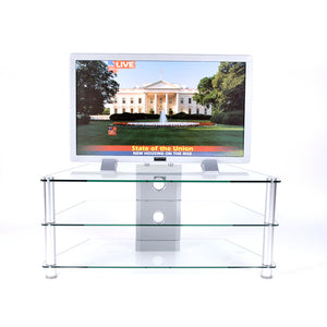 42  Inch and Below Plasma TV Stand Clear Tempered Glass with Wire Management