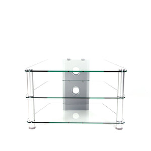Glass and Aluminum 32 inch and Below Clear Tempered Glass Plasma/LCD TV Stand with Wire Management