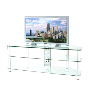 "RTA Home and Office Tempered Glass and Aluminum TV Stand with Wire Management for a 60"" TV"
