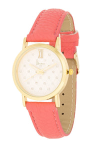 J Goodin Stylish Women\'s Gold Coral Leather Watch