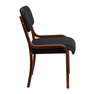 Flash Furniture Contemporary Walnut Wood Side Reception Chair with Black Fabric Seat