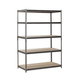 "5 Shelf Z-Beam Boltless Steel Shelving Unit in SilverVein - 72""H x 48""W x 24""D"