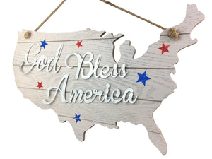 "God Bless America Cutout Continent Hanging Sign - 19.5"" x 14.5"""