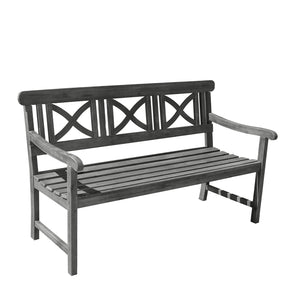 Vifah V1299 Grey-washed 3-Seater Wooden Garden Bench, 5-foot
