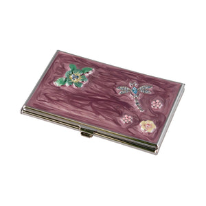 Visol Products Dragonfly Crystals and Lacquer Women's Business Card Case