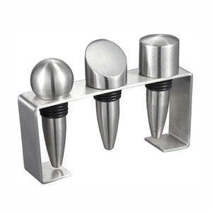 Visol Products Barlow Stainless Steel Wine Stoppers with Rectangular Stand, Chrome