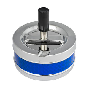 Visol Taz Blue and Silver Metal Air Tight Push Down Cigarette Ashtray