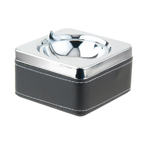 Visol Swivel Black Leatherette and Stainless Steel Cigarette Ashtray
