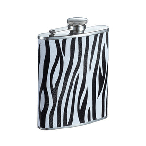 Visol Zebra Leather Liquor Flask, 6-Ounce, Black and White