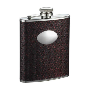 "Visol""Zandor"" Stainless Steel Hip Flask, 6-Ounce, Red and Black"