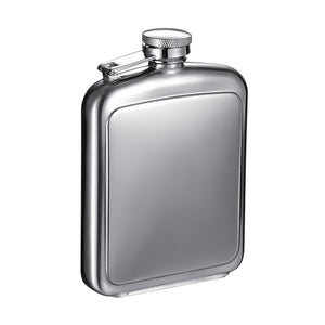 "Visol ""Vitak"" Polished and Brushed Metal Hip Flask, 6-Ounce, Chrome"