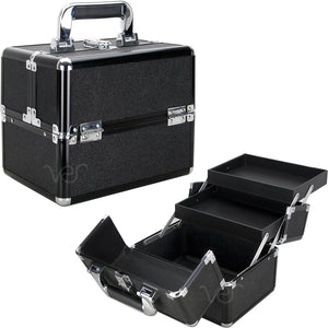 Glitter 2-Tiers Extendable Trays Makeup Train Case
