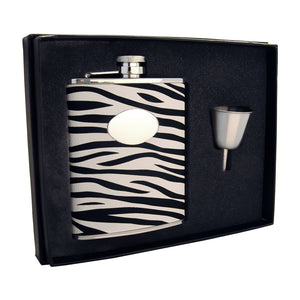 "Visol ""Zebra"" Leather Stainless Steel Liquor Hip Flask Gift Set, 6-Ounce, Black and White"