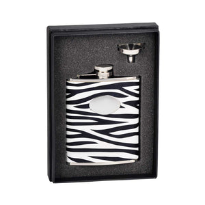 "Visol""Zebra"" Leather Stainless Steel Flask Gift Set, 6-Ounce, Black and White"