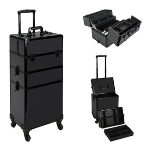 Ver Beauty Vt003 Black Matte Detachable Professional Rolling Aluminum Cosmetic Makeup Case with Extendable Removable Trays and Dividers