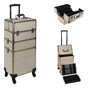 Champagne Glitter 4-Wheels Detachable Professional Rolling Aluminum Cosmetic Makeup Case Extendable and Removable Trays with Divider - VT003