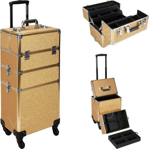 Ver Beauty 4 Wheels Removable Rolling Art Craft Tool Case Storage Organizer Travel Adjustable Dividers   VT003, Gold Glitter