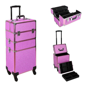 Ver Beauty Vt003 - Glitter 4-Wheels Detachable Professional Rolling Aluminum Cosmetic Makeup Case Extendable and Removable Trays With Dividers