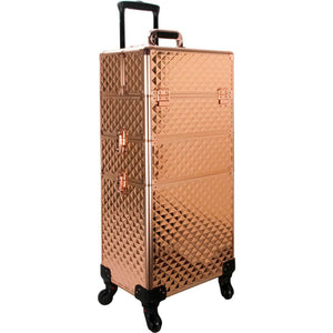 Rose Gold Diamond 4-Wheels Detachable Professional Rolling Aluminum Cosmetic Makeup Case Extendable and Removable Trays with Dividers - VT003