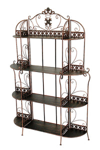 "HomeRoots Office Oliver 67"" Standard 4 Shelf Bakers Rack - Blackened Copper"