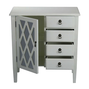 Cottage 1-Door, 4-Drawer Sideboard with Lattice Mirror Inserts - Antique White
