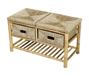 Kaleo Bamboo and Seagrass Open Frame Storage Bench with 1-Shelf and 2 Baskets - Natural