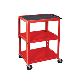 Luxor W42ARE Red Adjustable Height Steel Multipurpose A/V Cart with Three Shelves