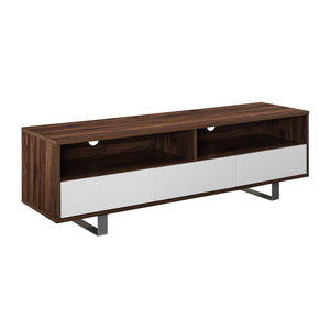"60"" Modern 3-Drawer Low TV Console - Dark Walnut"