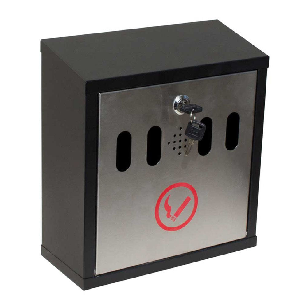 Qualarc WF-8022 Hayward Wall Mount Cigarette Ash Receptacle Black with Stainless